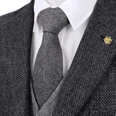 Wool Herringbone tweed gray, dark gey solid ties for men. Blue Orange, Red And Blue, Mens Party Wear, Wool Tie, Stylish Men, Neckties, Mens Fashion, Suits, Gray