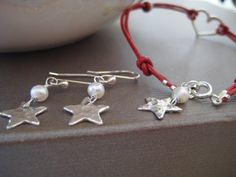 DAINTY silver hammered  Star freshwater pearl by elsyrene on Etsy