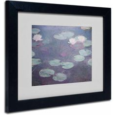 Trademark Fine Art Pink Lilies 1897-1899 inch Canvas Art by Claude Monet, Black Frame, Size: 16 x 20, Multicolor