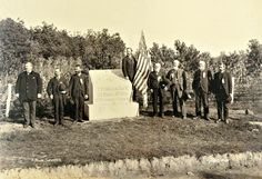 "7th Massachusetts veterans pose for photographer William Tipton at the dedication of their Gettysburg monument on Oct. 6, 1886. ""More delightful weather never favored an excursion party than was enjoyed on this occasion,"" according to a contemporary account. The monument is on the east side of Sedgwick Avenue, near Taneytown Road. The regiment suffered six wounded at Gettysburg."