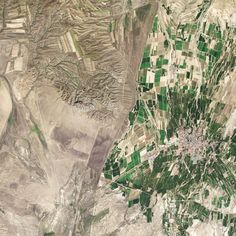 Where China (right) and Kazakhstan (left) Meet | NASA August 16, 2014: While people often say that borders aren't visible from space, the line between Kazakhstan and China could not be more clear in this satellite image. Acquired by the Landsat 8 satellite on September 9, 2013, the image shows northwestern China around the city of Qoqek and far eastern Kazakhstan near Lake Balqash.  The border between the two countries is defined by land-use policies. In China, land use is intense. Only ...