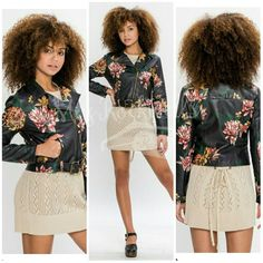 Boutique Coat S M L Black Multicolor Floral Vegan Leather Fashion Moto Jacket #Boutique #Motorcycle #CasualFashion