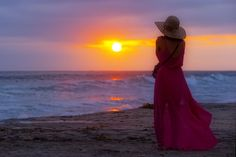 Woman in Red at Sunset in Oceanside - June 24, 2014 by Rich Cruse on 500px
