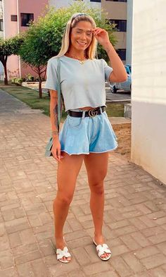 Looks Com Short Jeans, Look Con Short, Simple Outfits, Cool Outfits, Summer Outfits, Casual Outfits, Look Fashion, Fashion Outfits, Womens Fashion
