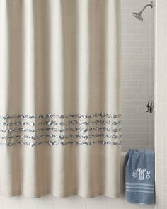 Condotti Shower Curtain  by Dransfield & Ross House at Neiman Marcus. Crtn shwr dcc bgn