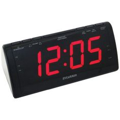 Sylvania(r) jumbo-digit dual alarm clock radio led display; am/fm pll radio with preset station; Digital Clock Radio, Radio Alarm Clock, Tabletop Clocks, Wake Up Call, Docking Station, Usb, Ebay, Home Decor