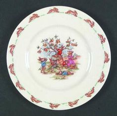"Salad Plate in the Bunnykins (albion Shape) pattern by Royal Doulton China ""Apple Picking"""