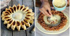 """Rezept für """"Sonnenpizza"""" aus Hefeteig mit Bolognesefüllung"""
