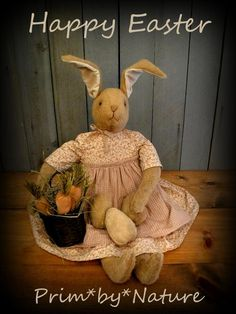 Primitive Easter Rabbit Doll with Basket of Carrots and Brown Easter Eggs