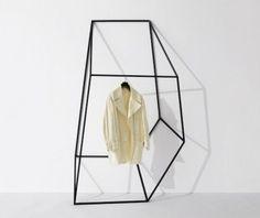 Geometric Clothing and Coat Racks by John Tong - Design Milk Design Blog, Store Design, Set Design, Turbulence Deco, Rack Design, Hanging Rail, Minimal Design, Mode Style, Retail Design