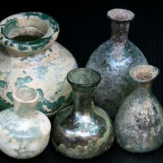 Ancient glass vessels from Pakistan/Afghanistan region - age 2000-1000    SKJ ancient bead art |