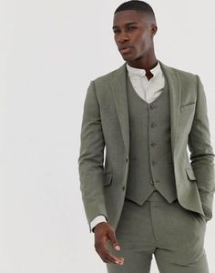 Buy ASOS DESIGN skinny suit jacket in khaki cross hatch at ASOS. Get the latest trends with ASOS now. Green Suit Men, Olive Green Suit, Green Suit Jacket, Costume Vert Olive, Asos, Guys Grooming, Costume Slim, Skinny Suits, Green Wedding Shoes