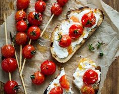 Share Tweet + 1 Mail Toasted bread + ricotta +  juicy grilled cherry tomatoes = heaven in a bite! Full recipe right here. NOM! ...