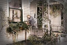 """October 1938......a John Vachon photo in his Sunday Porch series.....""""Lady tending her flower box"""". He was hired by the Farm Security Administration to document everyday life during the Depression. Flower Boxes, Flowers, Nebraska, Ladder Decor, Coloring Books, Depression, Porch, October, Sunday"""