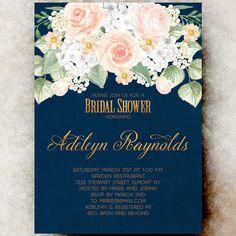 Navy BLue Bridal shower Invitation - Rustic bridal shower, wedding shower invite, Bridal Shower invitation printable, country bridal shower