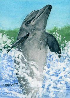 ACEO Original Painting Dolphin Tail Walk animal marine mammal wildlife ocean #Impressionism Watercolor Paintings, Original Paintings, Impressionism, Dolphins, Mammals, Wildlife, Ocean, Animal, The Originals