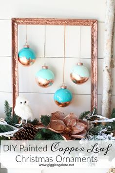 Make DIY Painted Copper Leaf Christmas Ornaments for glam farmhouse holiday deco Personalized Christmas Ornaments, Diy Christmas Ornaments, How To Make Ornaments, Holiday Crafts, Christmas Holidays, Christmas Decorations, Xmas, Holiday Decorating, Christmas Christmas