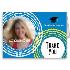 Graduation photo thank you card featuring yellow and white dotted circles with a customizable photo frame.