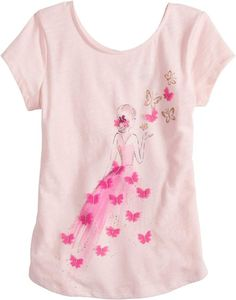 Add cute style to her casual wardrobe with this girls' SONOMA Goods for Life graphic, shirttail-hem tee. Girls Tees, Girls 4, Baby Girl Fashion, Kids Fashion, Painted Leather Jacket, Dress Neck Designs, Painted Clothes, Disney Shirts For Family, Sonoma Goods For Life