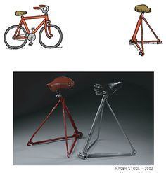 Racer Stool by Garbage Flowers Furniture Making, Furniture Ideas, Welding Art Projects, Bicycle Seats, Bench Stool, Rocking Chairs, Bike Stuff, Recycled Materials, Metal Art