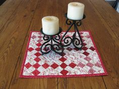 Nine Patch Quilted Candle Mat / Table topper by Quiltedhearts5, $20.00