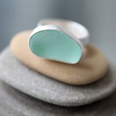 Sea Glass & Sterling Silver Ring by TheRubbishRevival
