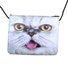 White Tabby Kitty Cat With Tongue Sticking Out Face Print Rectangular Shaped Cross Body Bag | Gifts for Cat Lovers