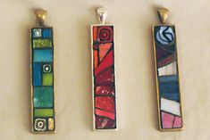green, red, & purple mosaic necklaces