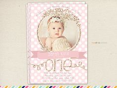 First Birthday- Invitations Pink and Gold