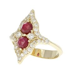 Hand crafted yellow gold, Ruby and Diamond ring. Made by FireWorks Gallery in Halifax, Nova Scotia, Canada. Ruby Stone, Signature Design, Nova Scotia, Fireworks, Wedding Bands, Heart Ring, Canada, Engagement Rings, Gemstones