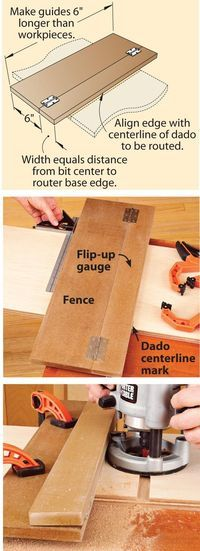 """Route dead-center dadoes - Similar idea might work for circular saw guide so I don't always have to measure back 5-1/16"""" from where I want to cut. 