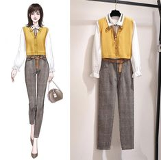 Yellow Girl 3 Piece Set Women Work Office Women Suits Autumn Winter Outfits Casual Jacket Korean Style Shirt Kids Dress With Panties Office Outfits Women Casual, Casual Winter Outfits, Retro Outfits, Retro Fashion, Korean Fashion, Latest Fashion, Fashion Trends, Vintage Fashion, Fashion Hacks