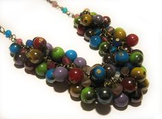 Beaded necklace cluster necklace colorful by AutomatedButterfly