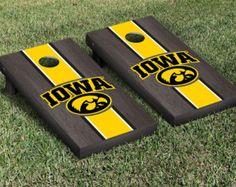 Iowa Hawkeyes Black Stained Cornhole Boards