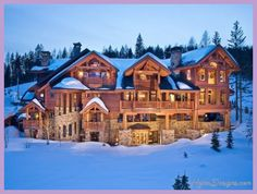 Log Cabin Log Homes Log Mansions Log Cabin Kits Country Living Gardening Casa Hotel, Whitefish Montana, Winter Cabin, Winter Homes, Winter Mountain, Snow Cabin, Winter Night, Log Cabin Homes, Expensive Houses