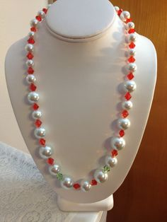 Christmas Necklace with Large Pearls by karlajophoto on Etsy, $25.00