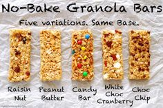 No bake chewy granola bars with alternative ingredient instructions.
