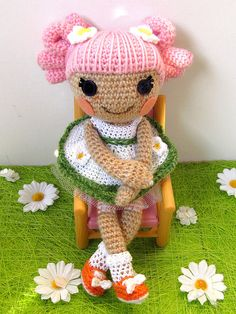 crocheted version of a Lalaloopsy doll-love how the hair is done