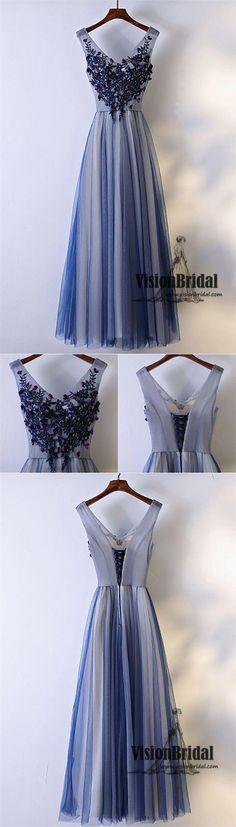 Cute V-Neck Rhinestone Applique Lace Up A-Line Long Tulle Prom Dress, Beautiful Prom Dress, VB0512 #promdress #promdresses