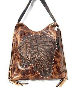 Raviani Indian Chief Distressed Leather Handbag Purse w/ Fringe Western Rodeo