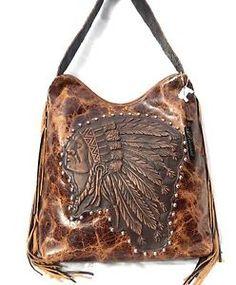 Raviani Indian Chief Distressed Leather Handbag Purse w/ Fringe Western Rodeo