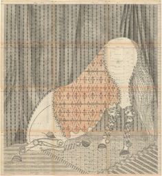 Untitled ~ Louise Despont; graphite & colored pencil on antique ledger book pages, 55 x 50.5 inches  #art #sketch #pattern