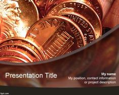 Template PPt  Free Money PowerPoint template with coins and orange background #powerpoint #templates