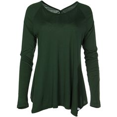 Venley Forest Green V-Neck-Back Long-Sleeve Tunic (33 AUD) ❤ liked on Polyvore featuring tops, tunics, v-neck tops, forest green top, rayon tunic, v-neck tunic and viscose tops