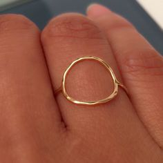 14K Gold Circle Hammered Rings by EllynBlueJewelry on Etsy https://www.etsy.com/listing/208763139/14k-gold-circle-hammered-rings
