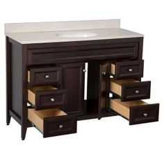 St. Paul Brisbane 48.5 in. Vanity in Chocolate with Colorpoint Vanity Top in Maui BB48P2COM-CH at The Home Depot - Mobile