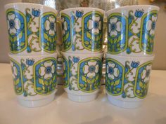 Coffee Mug Vintage Mod Set of 6 Turquoise by vintagefrombutterfly, $24.00