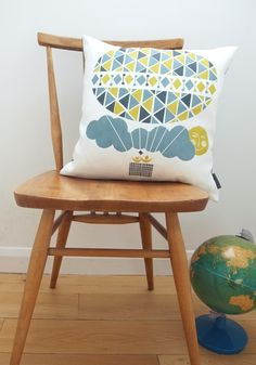 awesome screen-printed pillow! great color scheme.
