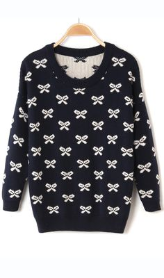 Sweet bowknot thick loose sweater 3 colors optional Blue
