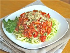 Celeriac (or Zucchini) Linguine with Bolognese Sauce and Hemp Parmesan